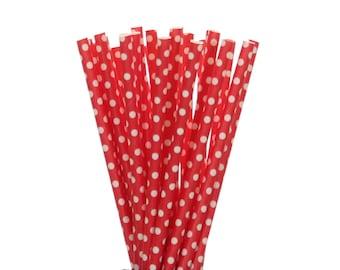Paper Straws, Red with Medium White Polka Dot Paper Straws, Polkadot Valentines Day Decor, Red 1st Birthday Decor, Graduation Party Supplies