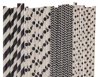 Paper Straw Mix, Black Striped Polka Dot Chevron Paper Straws, Black and White Party Decor, Black Birthday Supplies, Wedding Paper Straws