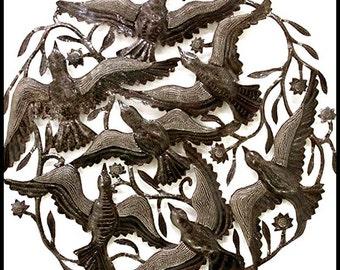 """Birds Metal Wall Hanging - Metal Wall Art - 34"""" x 34""""- Haitian Metal Art - Recycled Steel Drum, Handcrafted Metal Art of Haiti - 5015"""