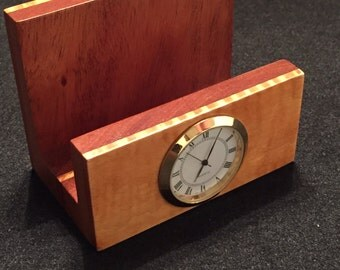 Handmade wood desk top card holder