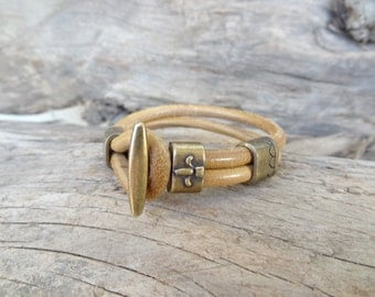 EXPRESS SHIPPING,Men's Leather Bracelet, Natural Leather Bracelet, Antique Brass Bracelet,Unisex Jewelry,Gifts for Husband,Father's Day gift