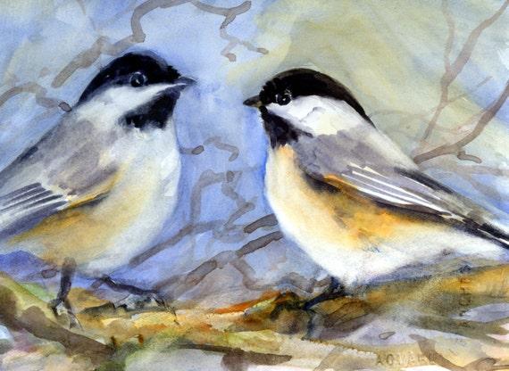 Black-capped Chickadee -- signed print - watercolor - Bonnie White - chickadee - avian art - bird prints - bird paintings