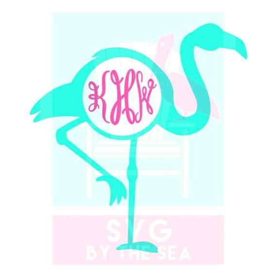 preppy flamingo monogram frame cutting files in svg dxf
