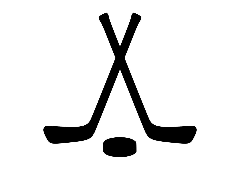 Crossed Hockey Sticks & Hockey Puck Decal Outdoor Vinyl Custom