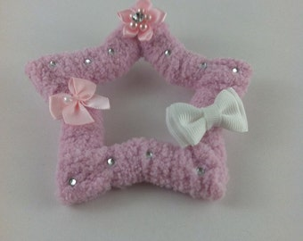 pink fuzzy star hair clip and broach