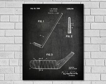 Hockey Stick Patent Print - Hockey Patent - Hocky Art - Hockey Stick Wall Art - Coles Hockey Stick Patent - Hockey Decor - PatentPrint SH194