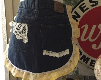 Denim Apron w/Yellow & White Gingham Ruffles