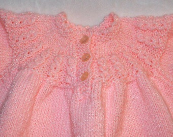 HAND MADE BABY Dress/Pink Baby Gift/America Knitted Baby Dress/ New Vintage Unworn
