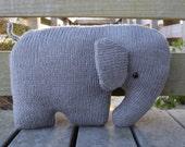 Elephant Pillow, Nursery Pillow, Elephant Cushion, Stuffed Elephant, Knit Stuffed Animal, Elephant Shaped Pillow, Kids Pillow, Baby Pillow