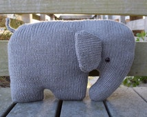 Elephant Pillow, Nursery Pillow, Elephant Cushion, Stuffed Elephant, Knit Stuffed Animal, Elephant Shaped Pillow, Kids Pillow, Baby Pillow