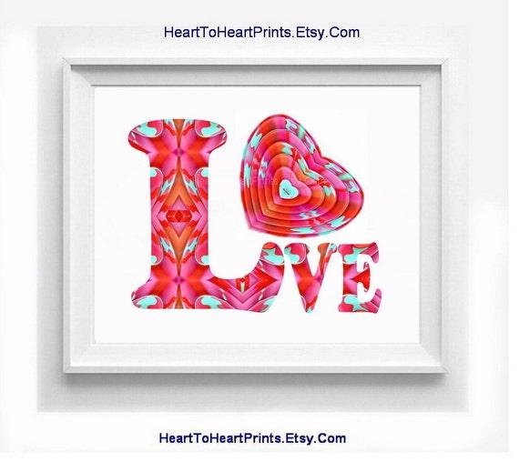 Red Love Wall Decor : Red heart nursery decor art print love by hearttoheartprints
