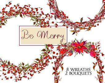 Christmas Wreaths  Clipart Watercolor Poinsettia  Berries  Digital  Floral  Bouquets Clip art Wedding Invitation Transparent  Background PNG
