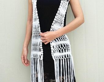 Long Fringe Crochet Vest Beach Cover Up
