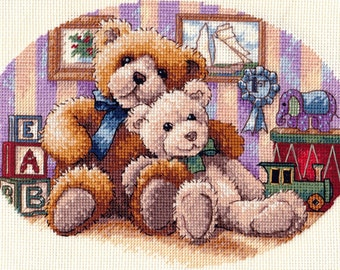 """Nursery Finished Cross Stitch Picture """"Warm and Fuzzy"""". Completed Cross Stitch. Hand Embroidery. Nursery Wall Decor. Nursery Toy Decor"""