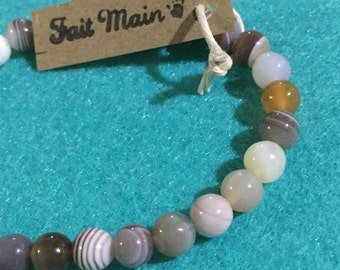 Bracelet - woman Agate Grise/rose lithotherapy-6 mm - unique model