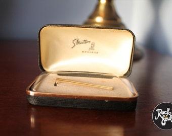 Vintage Gold Toned Stratton Tie Clip in Original Box circa 1960s