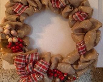 Winter Berry Burlap Wreath
