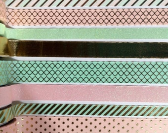 """Pink and mint washi tape, gold foil washi tape, decorative tape 24"""" sample, washi tape, recollections washi tape"""