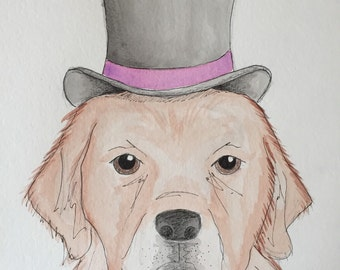 Golden Retriever Top Hat Painting