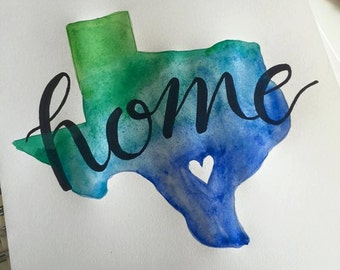 Watercolor Home Print CHOOSE YOUR STATE