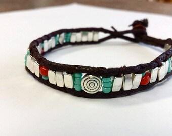 Silver Native American inspired Bracelet