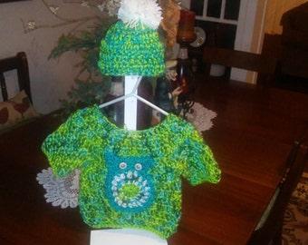 Owl Sweater set 6-12 months