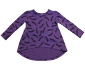 12-24 months, toddler long sleeve high low tunic in feather