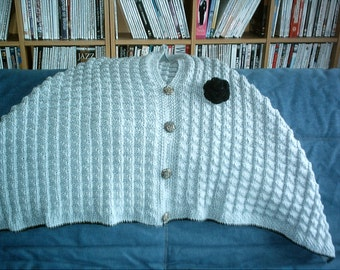 Grey Hand Knitted Ladies Poncho