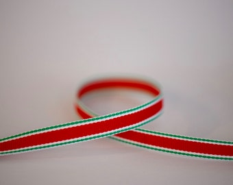 "3/8"" Red & Green Stripe Grosgrain Ribbon. Christmas. Holiday."