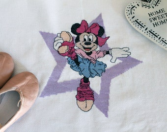 Counted cross stitch, cross stitch Disney Minnie, Minnie Dancer, little girls, Cross stitch