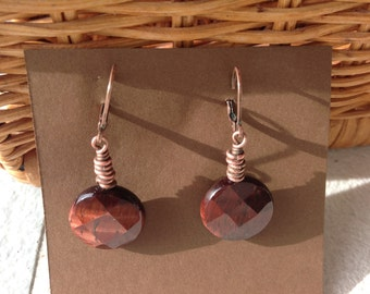 Red tiger eye and copper earring