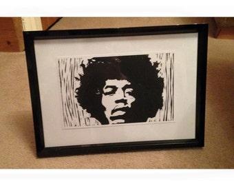 Jimmi Hendrix // Hand Made Original Artwork // Lino Print Framed