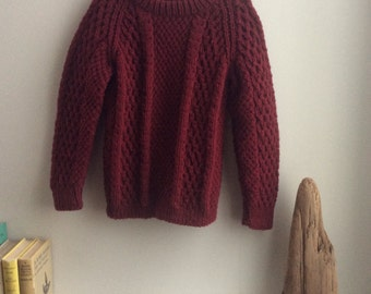 Vintage Handknit Burgundy Childrens Sweater