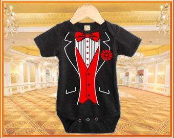 Classic 2 Colour Baby Tuxedo Black Tuxedo onesie with Custom Color Selection Baby Gift Onesie, Printed White on Black Onesie