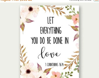 1 Corinthians 16:14, Let Everything You Do Be Done In Love, Bible Verse Printable, Scripture Print, Christian Wall Art, Scripture Quote