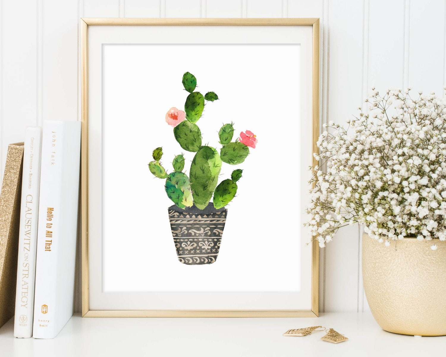 cactus print cactus printable cactus wall art botanical. Black Bedroom Furniture Sets. Home Design Ideas