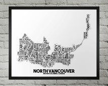 North Vancouver British Columbia Neighborhood Typography City Map Print