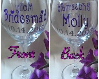 Writing 2 Sides Wine Glass,Custom Wine Glasse,Bridesmaid Gift,Bridesmaid Wine,Bridal Party Gift,Wedding Glasses,Red Wine Glasses,Personalize
