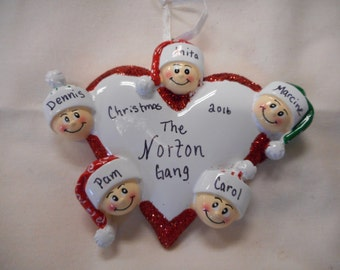 5 FAMILY HEART ORNAMENT// personalized christmas ornament//family of 5 heart ornament//christmas ornament//personalized