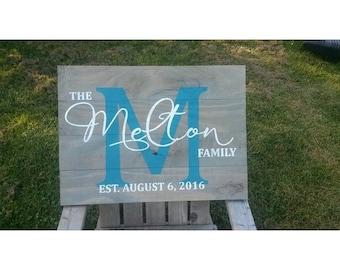 Monogram family last name established date sign