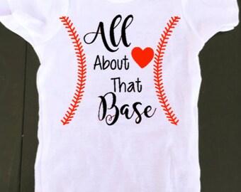 baseball onesie- all about that base - baby girl baseball onesie