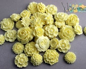 Cabochon flowers, yellow, Scrapbooking embellishments, Card making, Invitations