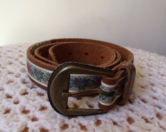Genuine Leather Brown Belt with Fabric Detail
