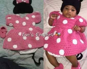 Baby Minnie mouse crochet costume