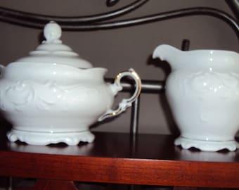 Royal Kent (Poland) Sugar Bowl with Lid and Creamer