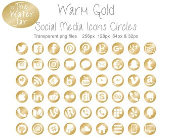 Gold Social Media Icons in Warm Gold Metallic Finish.  Commercial Use, Metallic Gold Social Icons, Website Graphics, Blog Design