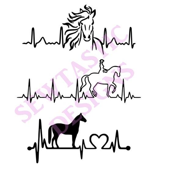 Horse Heartbeat Cut File Cricut Mtc Scal Silhouette