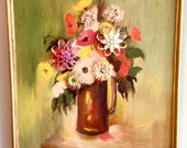 Floral still-life vintage original painting in shades of green, red, pink, yellow, and embellished with antique jewelry pieces