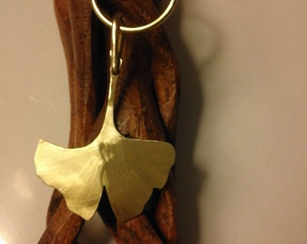 "Keychain ""GINGKO BILOBA"" the leaf of the tree of longevity, minimalist"