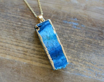 Square Column Blue Druzy Necklace - Agate Pendant w/ 24K Gold Edge Plating & Stainless Steel Chain - Gemstone Jewelry